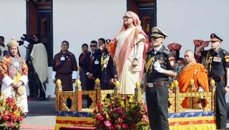 শেখ হাসিনাকে ভুটানের রাজার বর্ণাঢ্য সংবর্ধনা