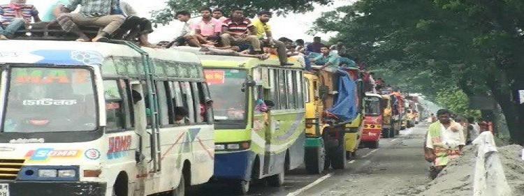 ঢাকা-ময়মনসিংহ মহাসড়কে অসহনীয় যানজট
