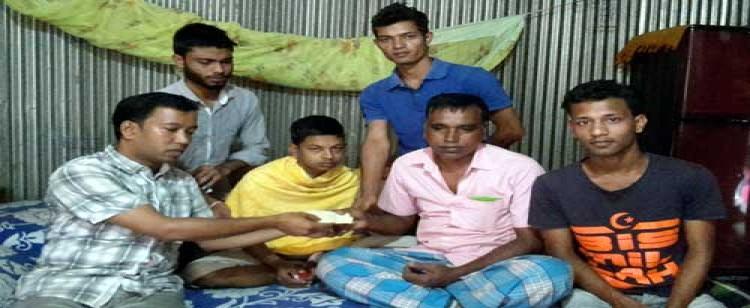 ফেঞ্চুগঞ্জে অসুস্থ মিতু'র শয্যাপাশে ছাত্রদল নেতা রাসেল